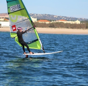 Jen windfoil training in light wind and calm sea in vilamoura portugal january 2020